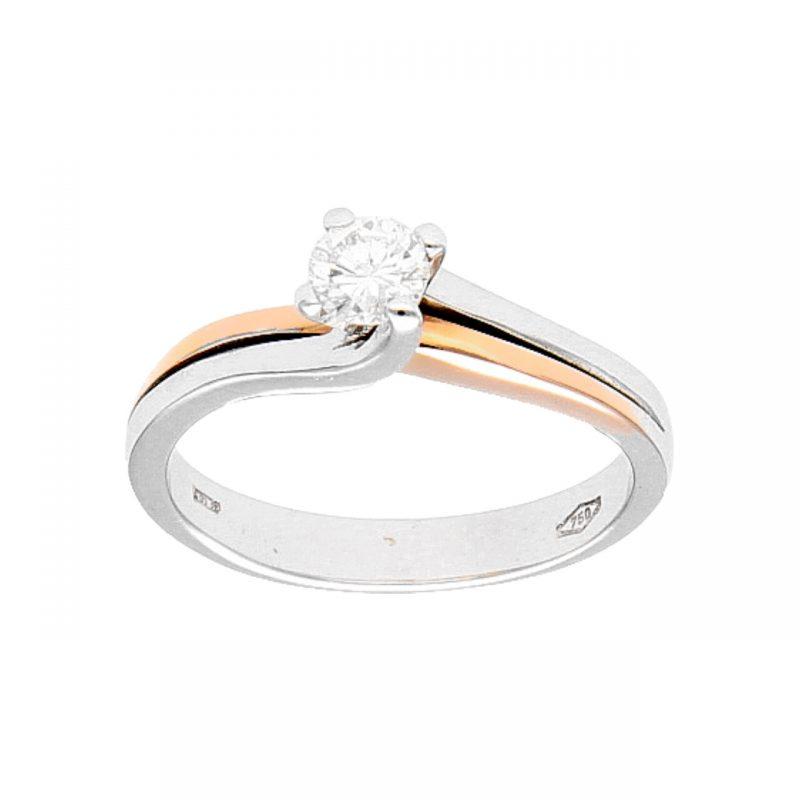 Anillo oro blanco y rosa con  diamante natural