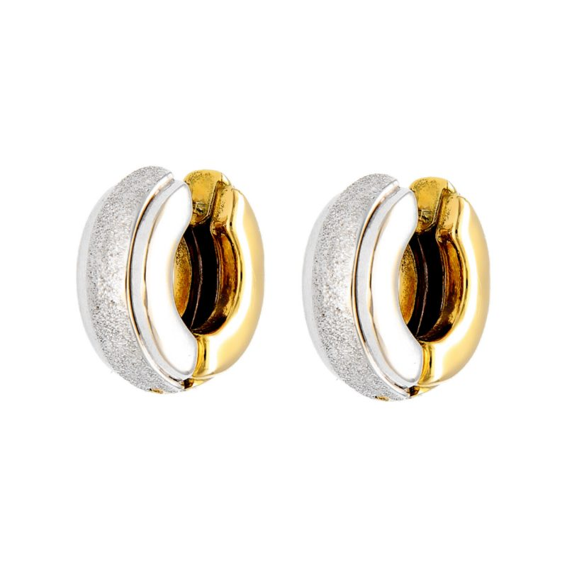 Yellow and white gold earrings with diamond-effect