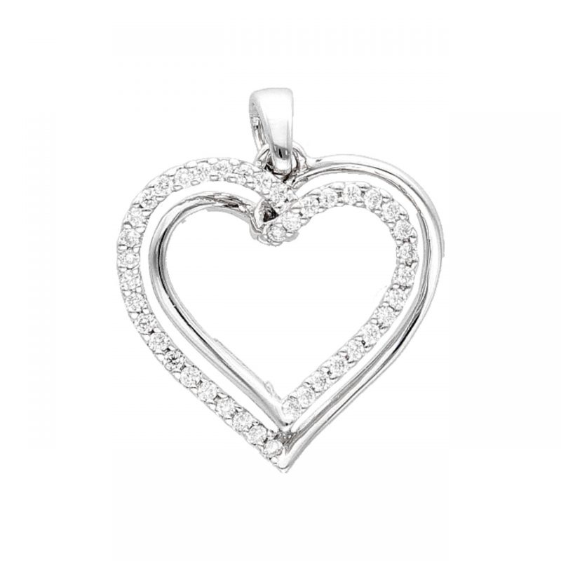 White gold heart pendant with diamonds