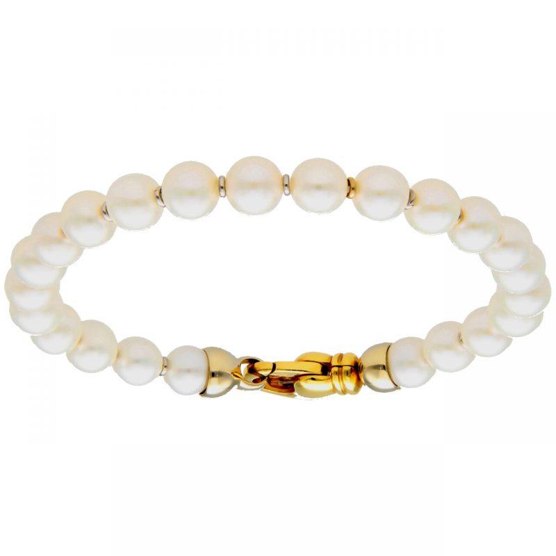 Bracciale di perle con oro giallo e bianco