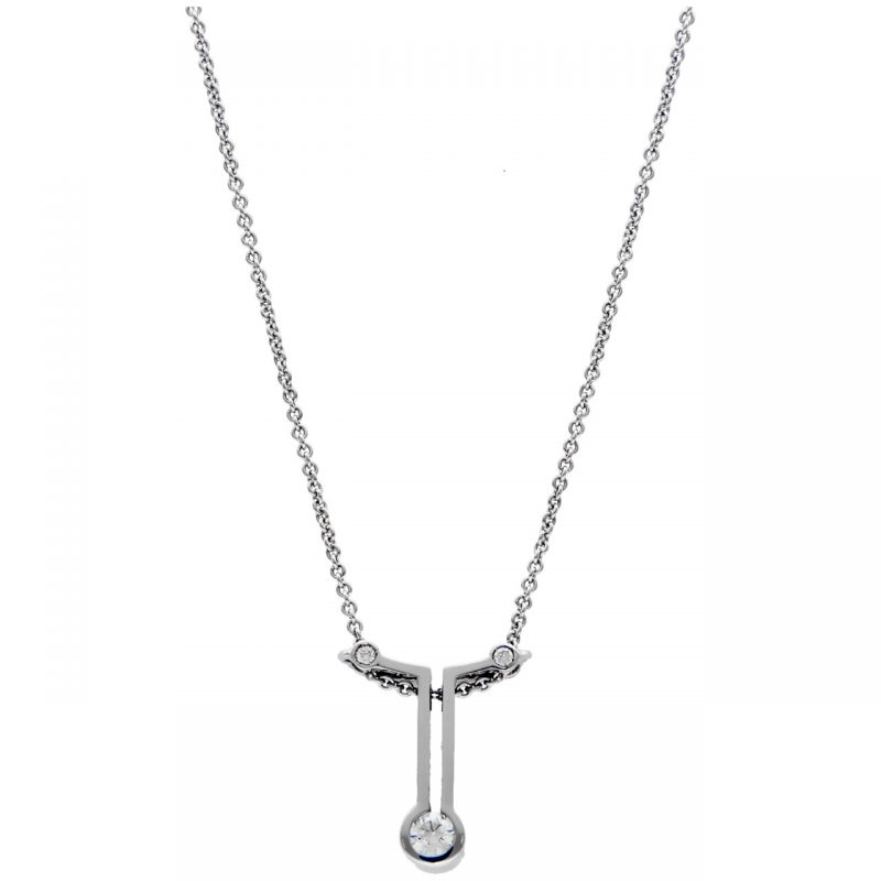 Halskette mit Anhänger aus Weißgold und Diamanten