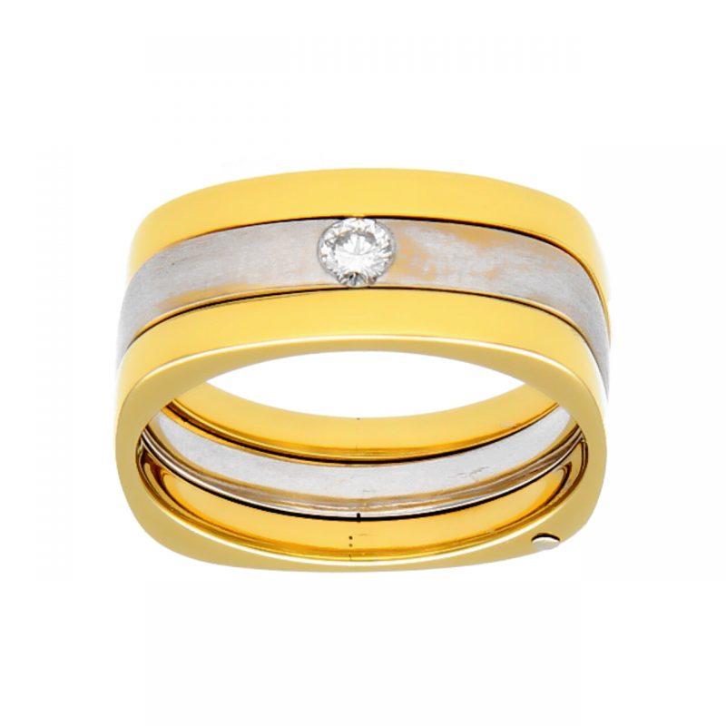 Gelb-Weißgold Ring mit Diamanten