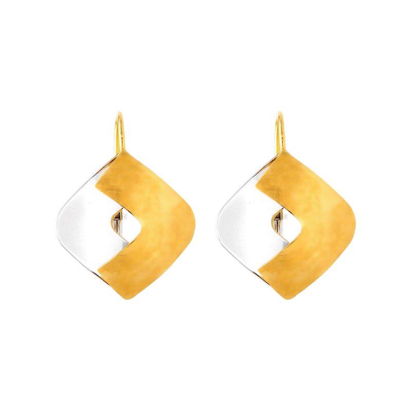 Pendientes modernos oro amarillo y blanco