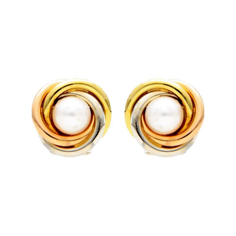 Three clor gold earrings with pearl