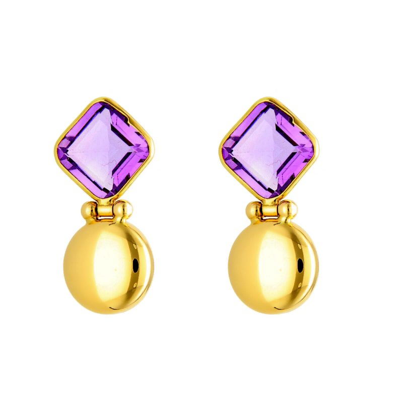 Earrings yellow gold with amethyst