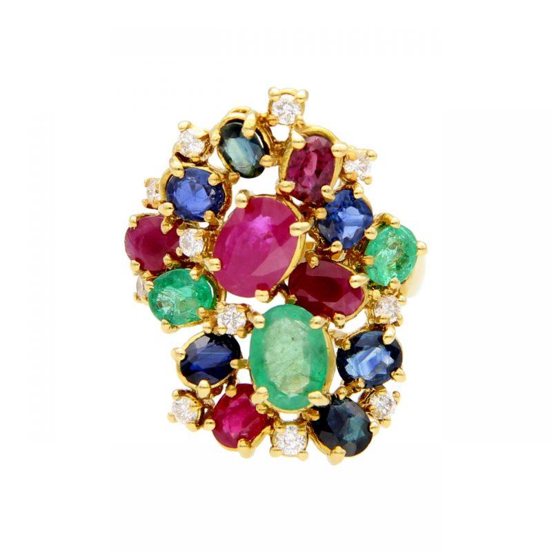 Gelbgold Ring mit Saphiren, Diamanten und Rubinen