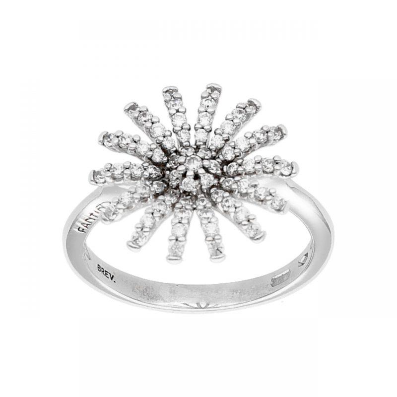 Anillo flores oro blanco con diamantes