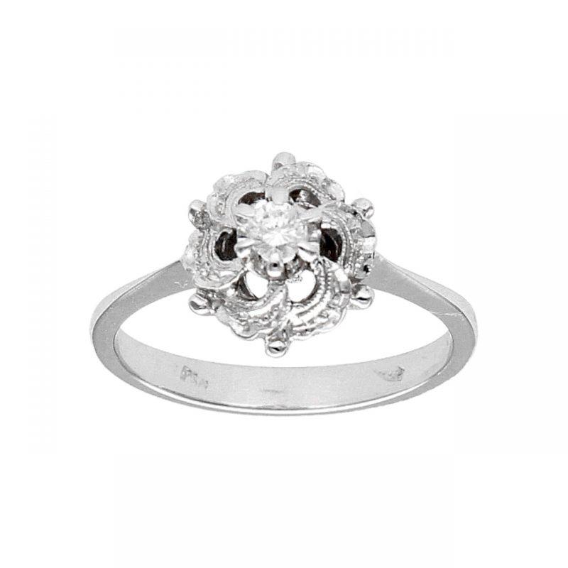 Anello oro bianco con diamante