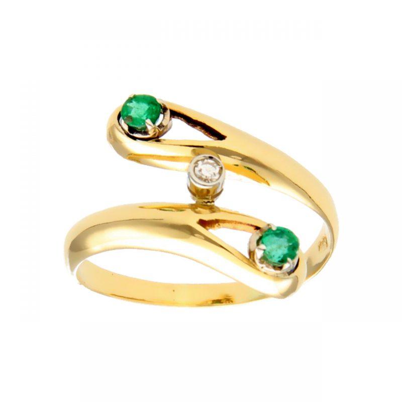 Anello oro giallo con diamante e smeraldi