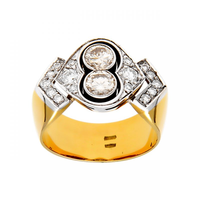 ArtDeco ring yellow gold and diamonds
