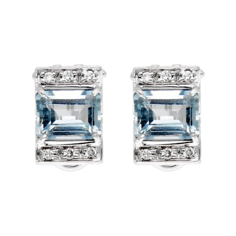 Earrings white gold with aquamarine and diamonds