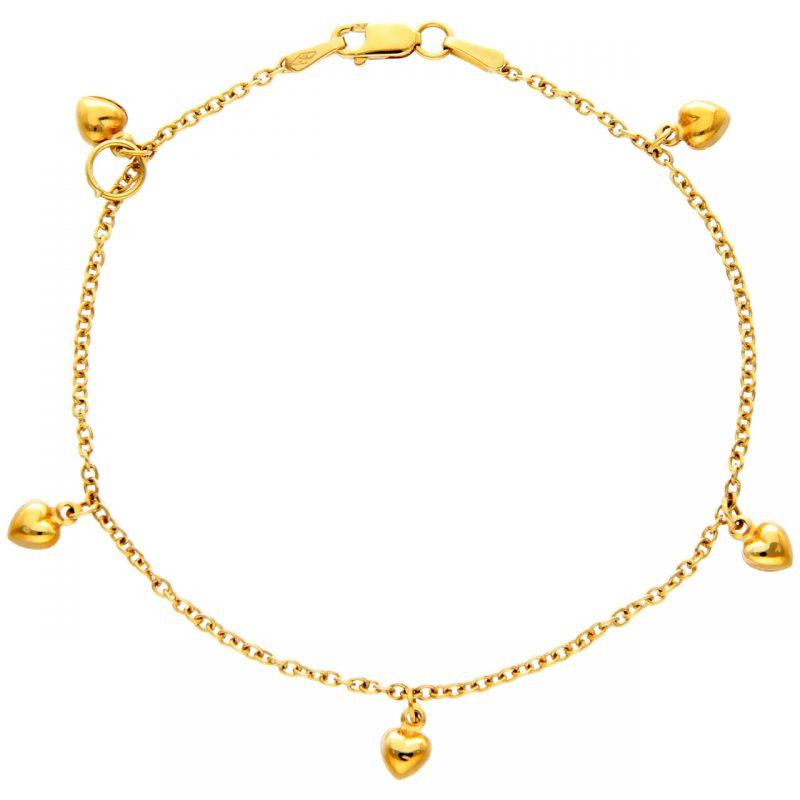 Gelbgold Armband mit Herzen