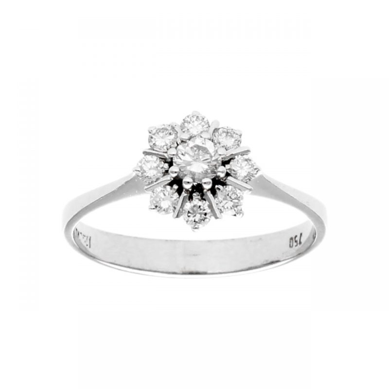 White gold ring with diamond's flower 0,35 ct