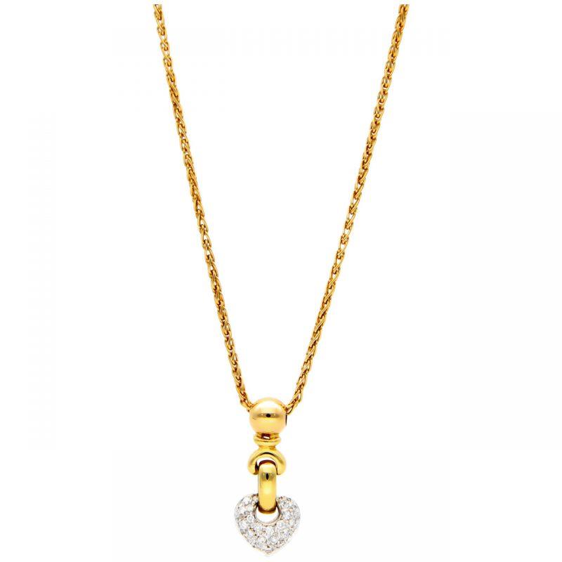 DD Gioielli Halskette aus Gelbgold mit Herz-Anhänger aus Diamanten 0,25 ct