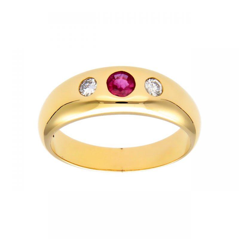 Anillo hombre oro amarillo con diamantes y rubí