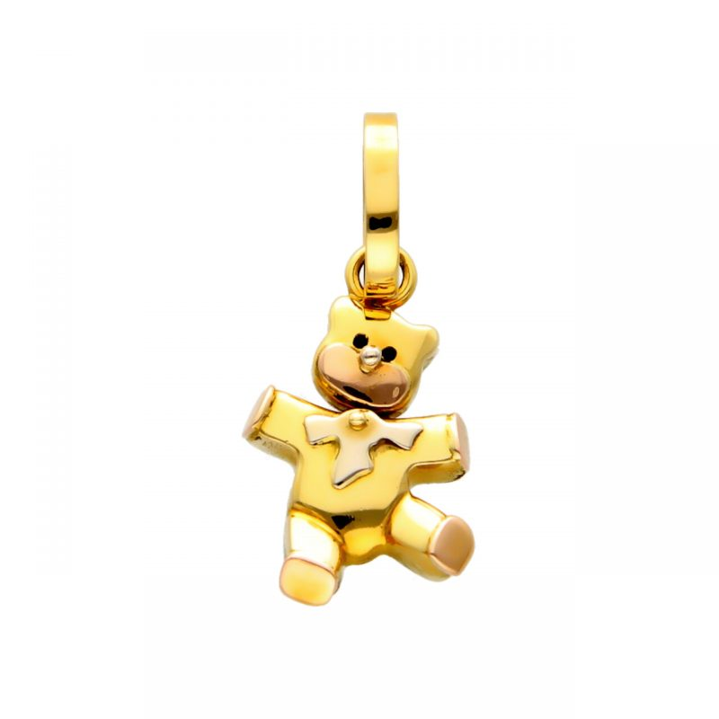 Teddy bear pendant white and rose gold