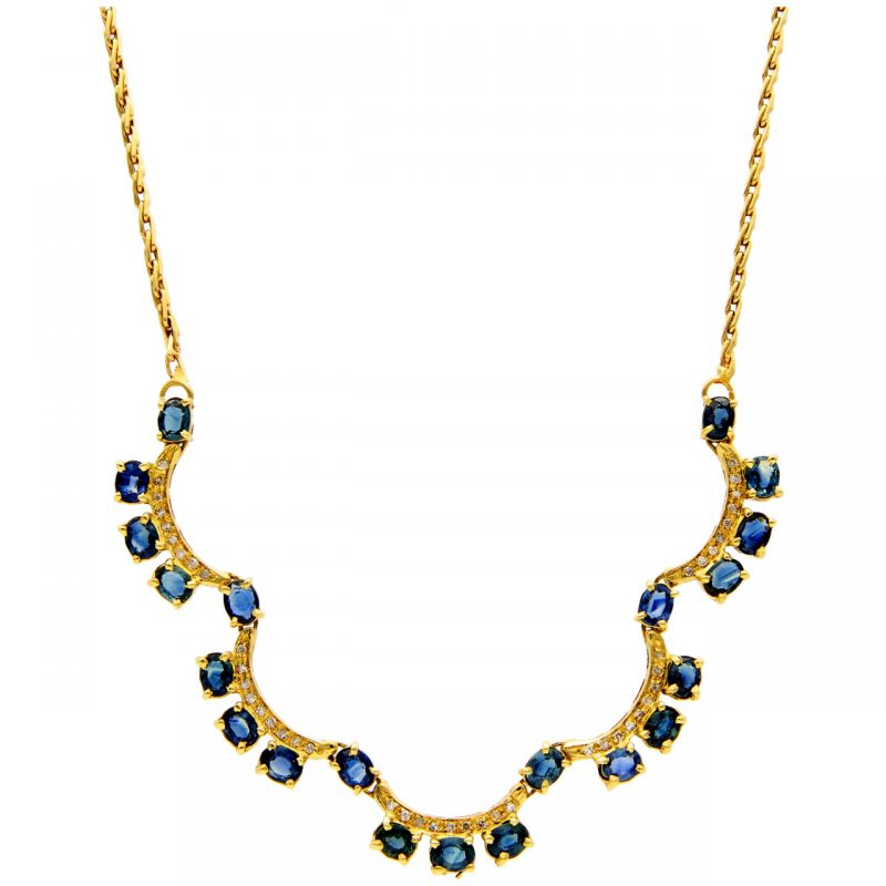 Yellow gold necklace with sapphires and diamonds