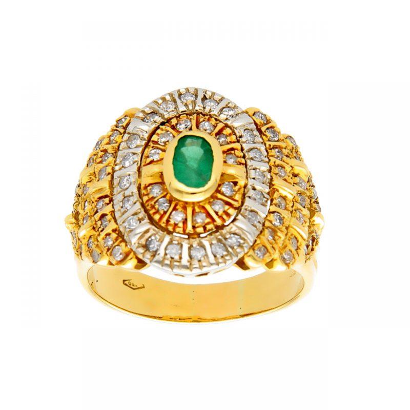 Anillo dos oros con diamantes y esmeralda
