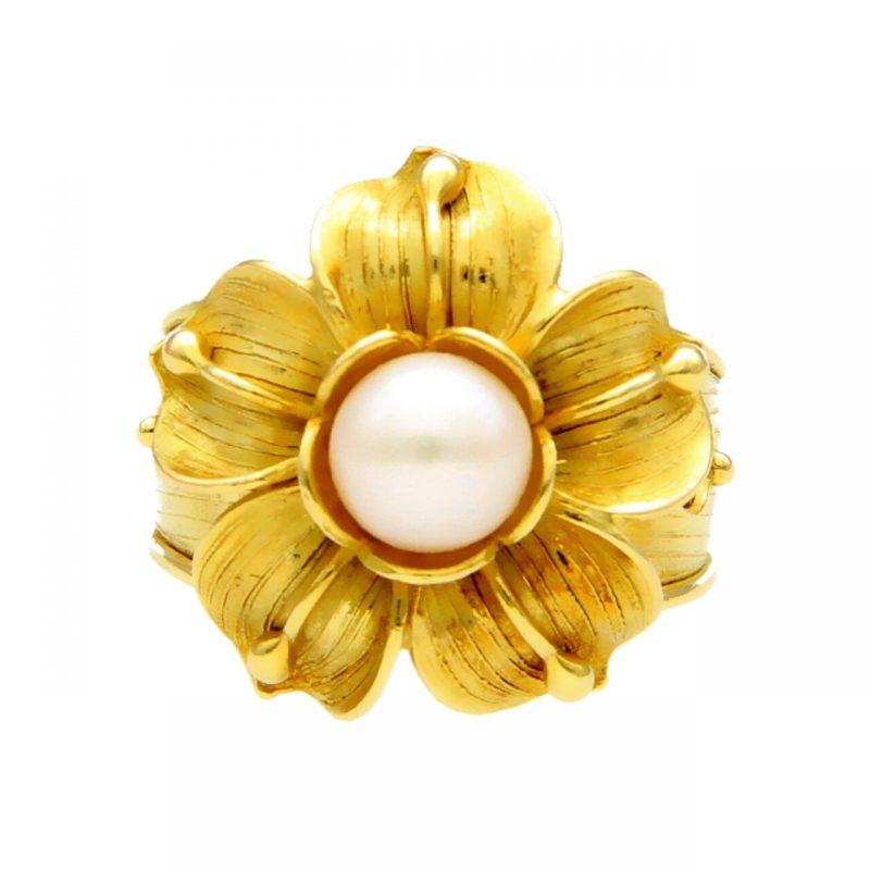 Blumen-Ring aus Gelbgold mit Perle