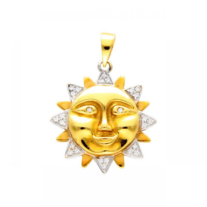 Colgante Sol dos oros con diamantes