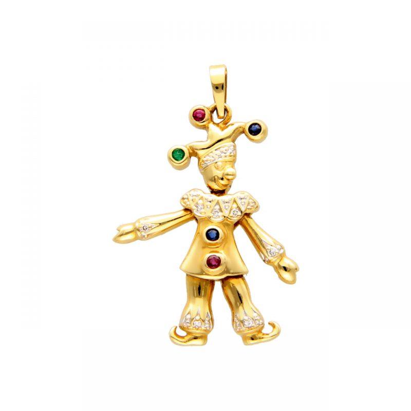Jolly - Anhänger aus Gelbgold mit Smaragde, Rubine, Saphire und Diamanten