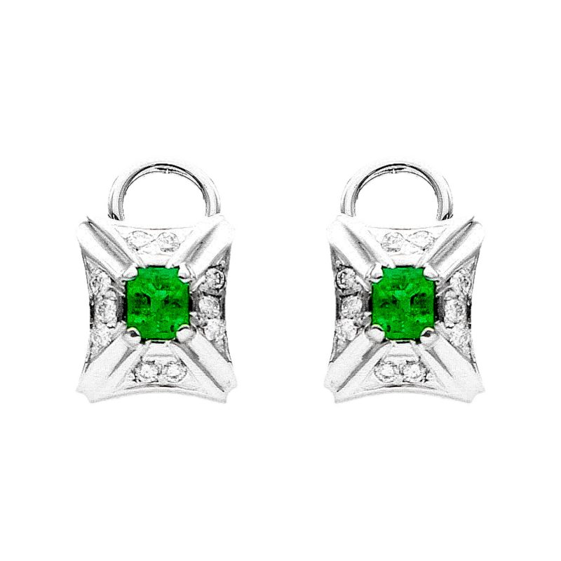 White gold earrings with emeralds and diamonds