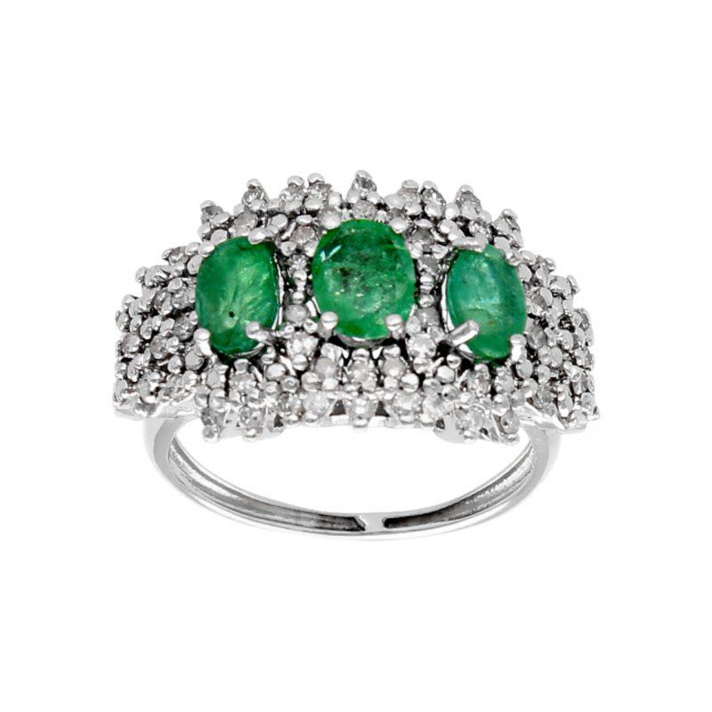 Anello oro bianco con diamanti e smeraldi