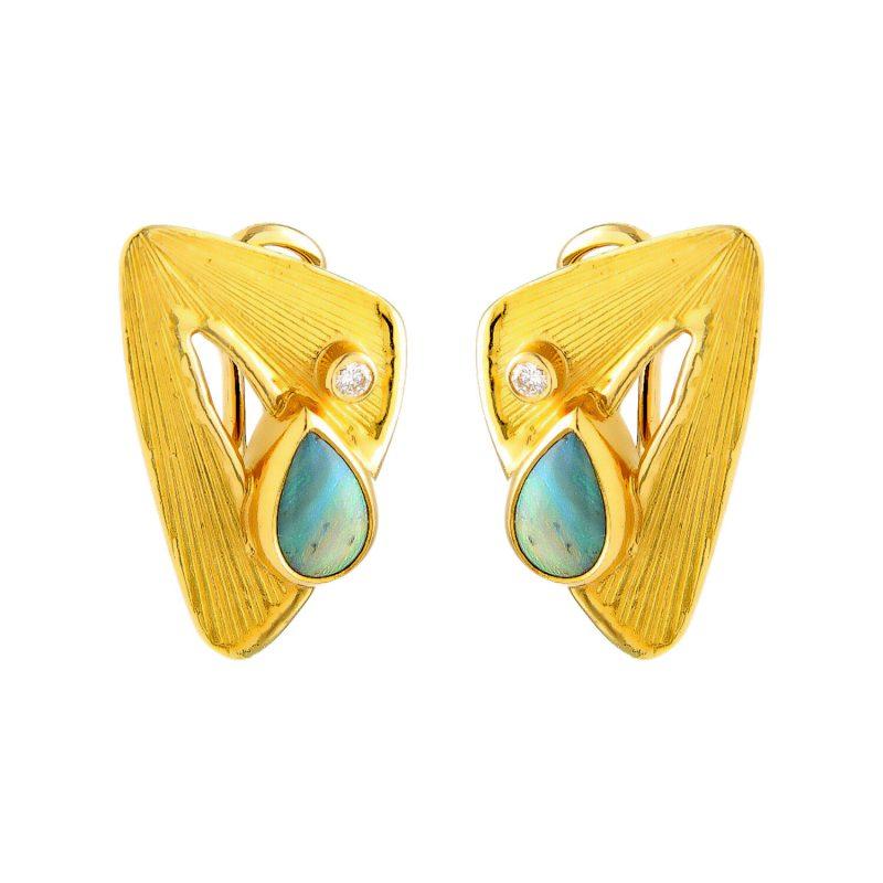 Gelbgold Ohrringe mit Opal und Diamant