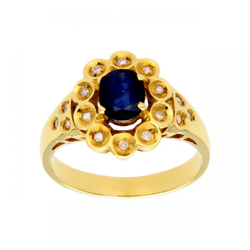 Anillo de oro amarillo con diamantes y zafiro