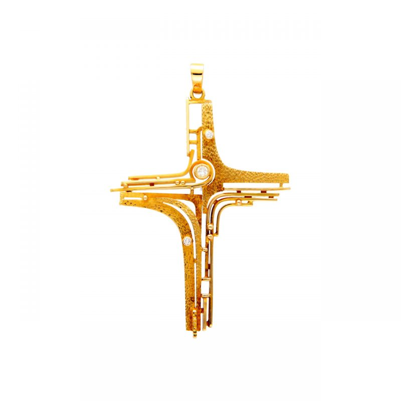 Colgante Cruz de oro amarillo con diamantes