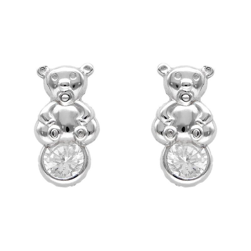 Baby Bär-Ohrringe aus Weißgold mit Zirkon