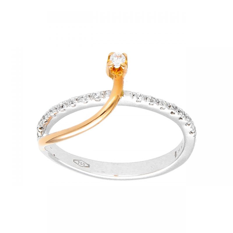 Ring white and rose gold with zircons