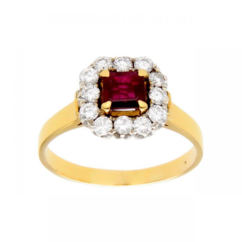 Anillo amarillo y blanco con rubí y diamantes
