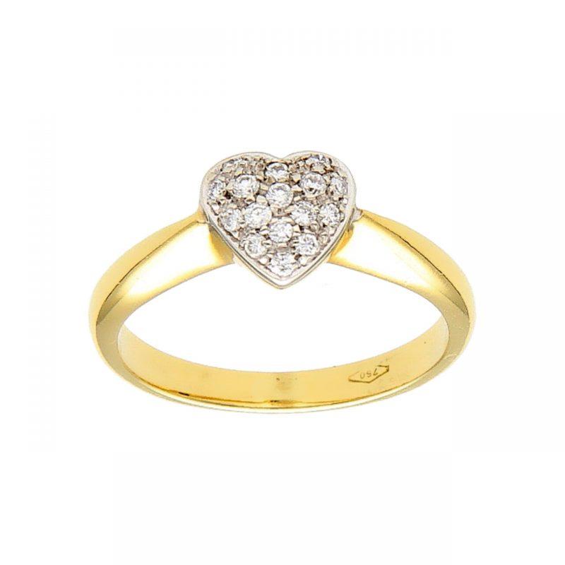 Anello cuore oro giallo con diamanti