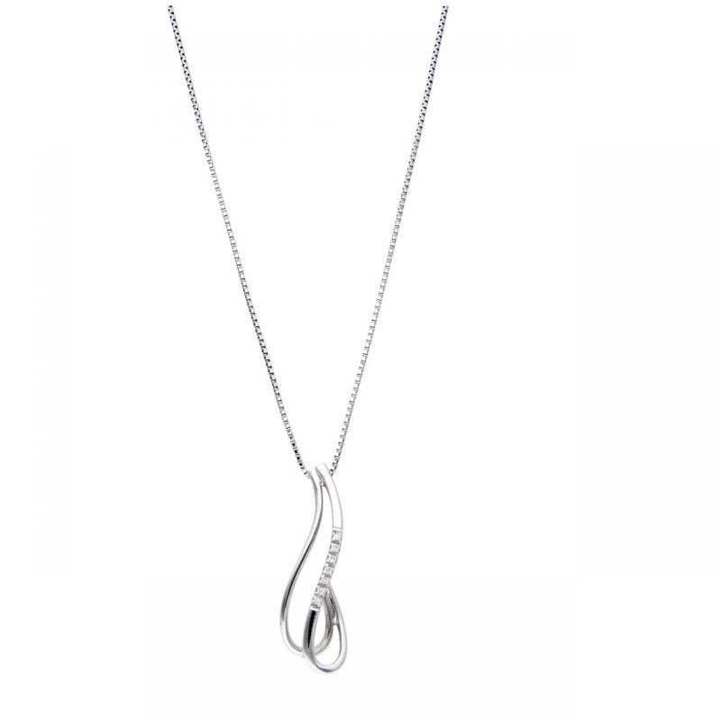 Necklace white gold with diamonds two waves