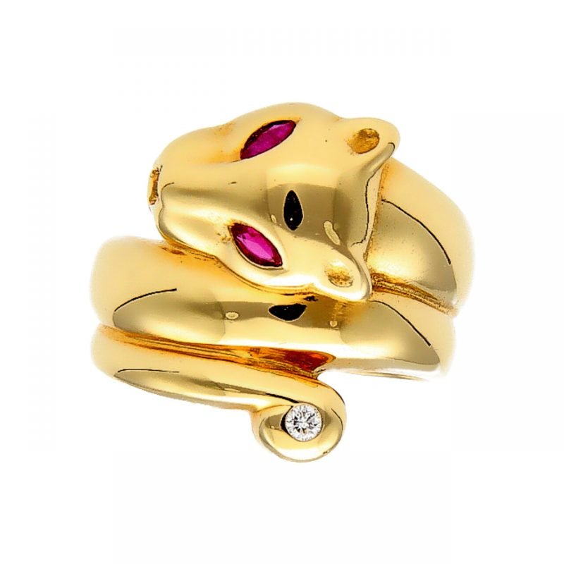 Panther ring yellow gold with diamond and rubies