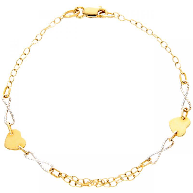 Herz-Unendlichkeit Armband aus Gelb- und Weißgold