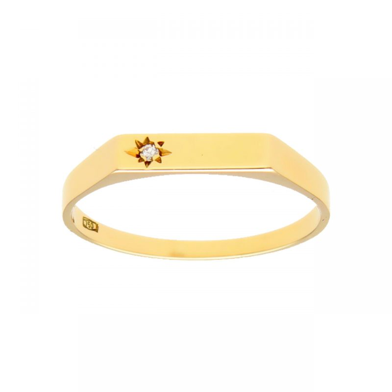 Men's Ring yellow gold with diamond