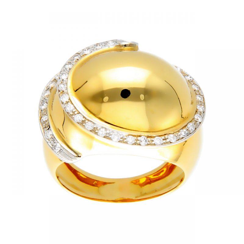 Anillo moderno oro amarillo y blanco con espiral de diamantes