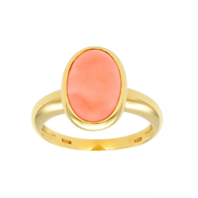 Anillo oro amarillo con coral rosa