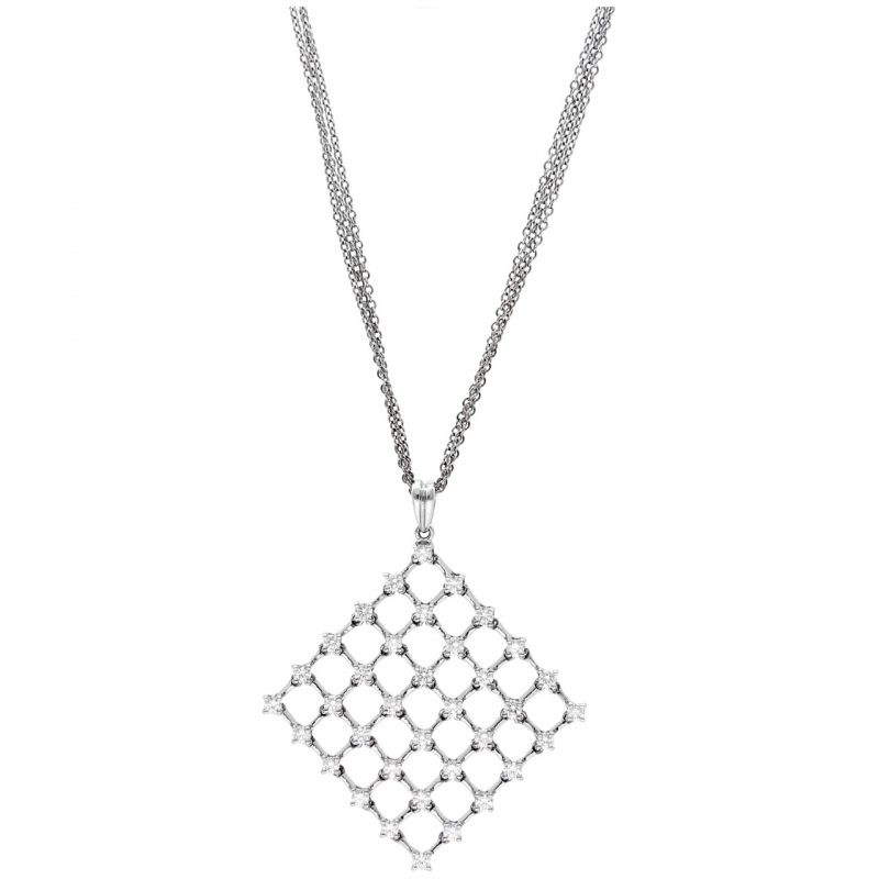 Cadena oro blanco con colgante cuadrado de diamantes