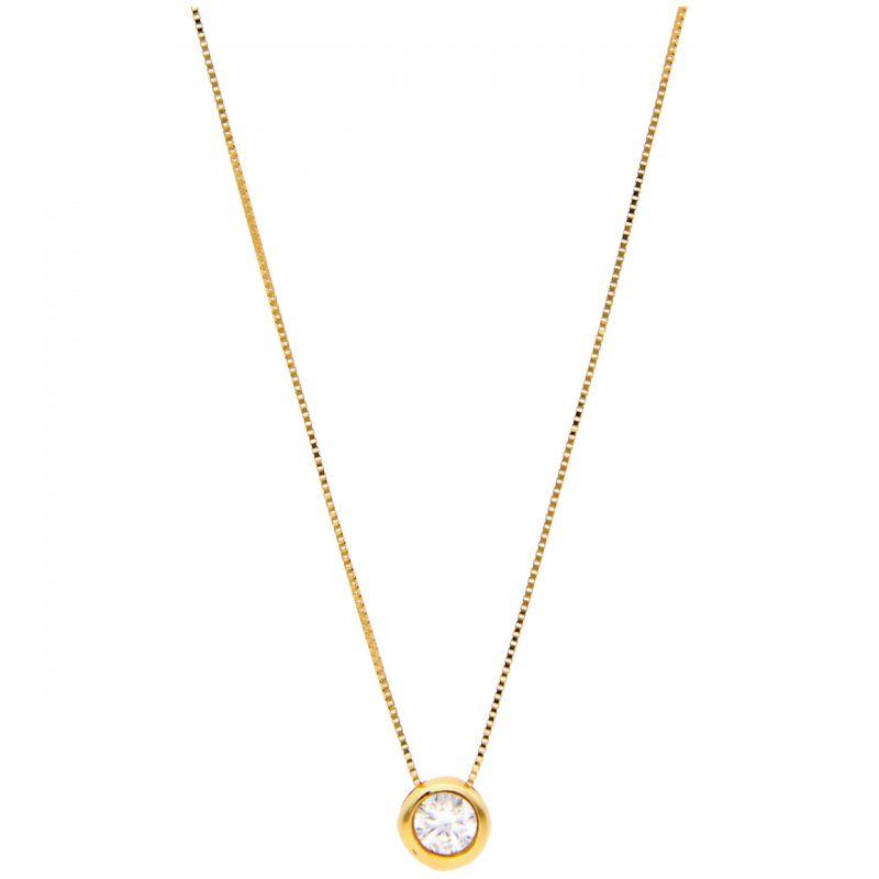 Cadena oro amarillo con punto de luz circón