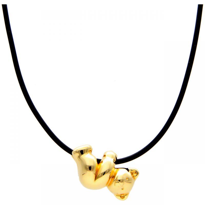 Collana in caucciù con orsetto in oro giallo