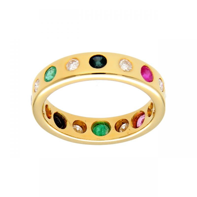 Yellow gold ring with diamonds and precious stones