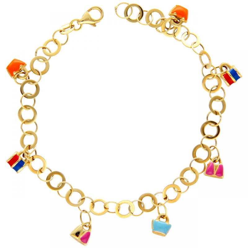 Yellow gold bracelet with handbags charms