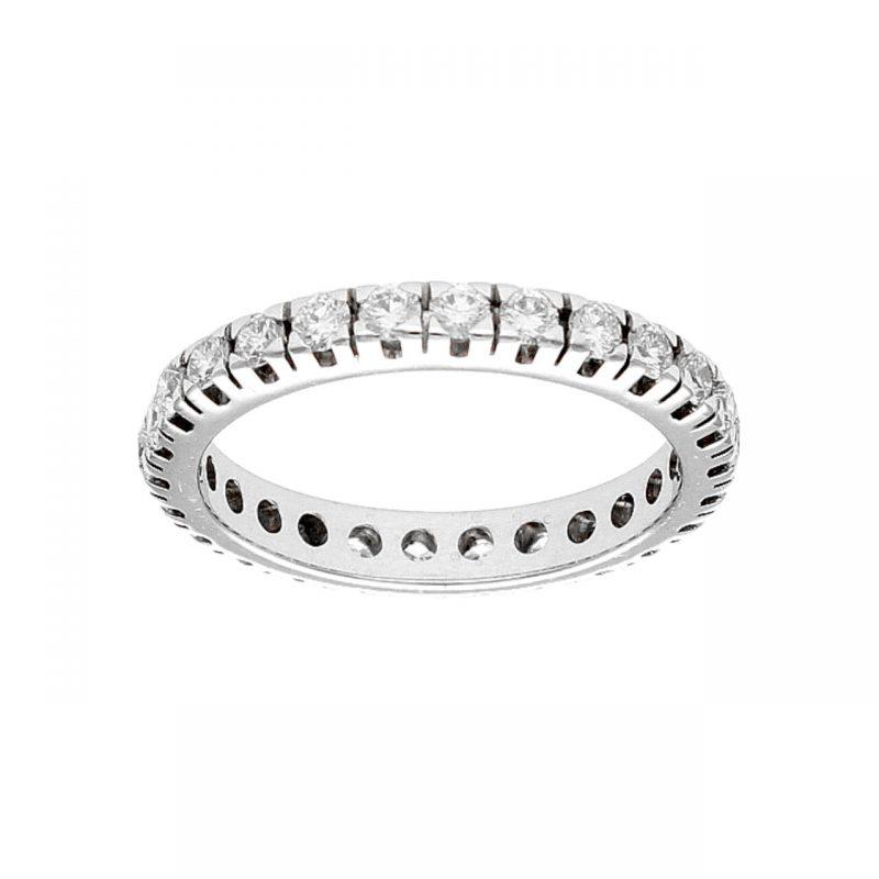 Anello veretta in oro bianco con diamanti
