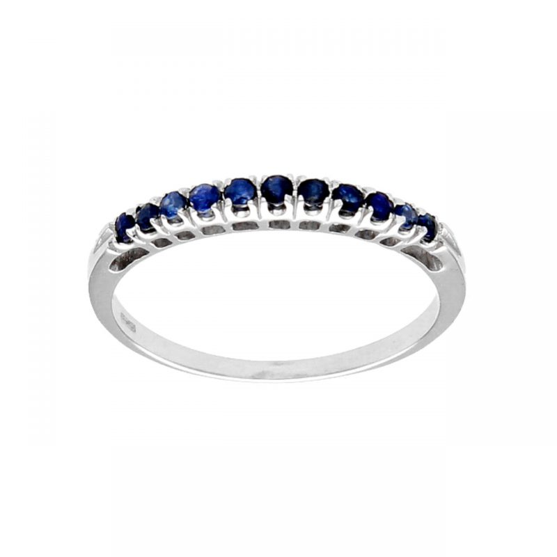 White gold ring with sapphires