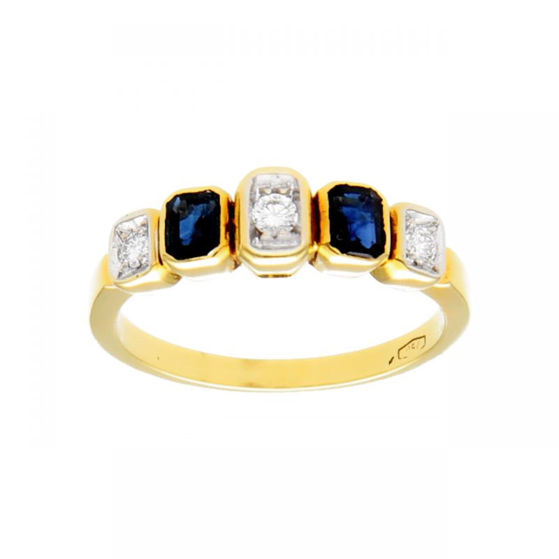 Ring yellow gold with sapphires and diamonds