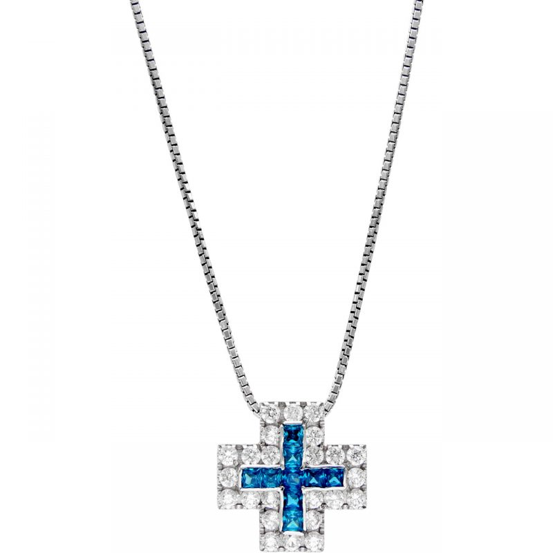 Cross necklace white gold with zircons and blue stones