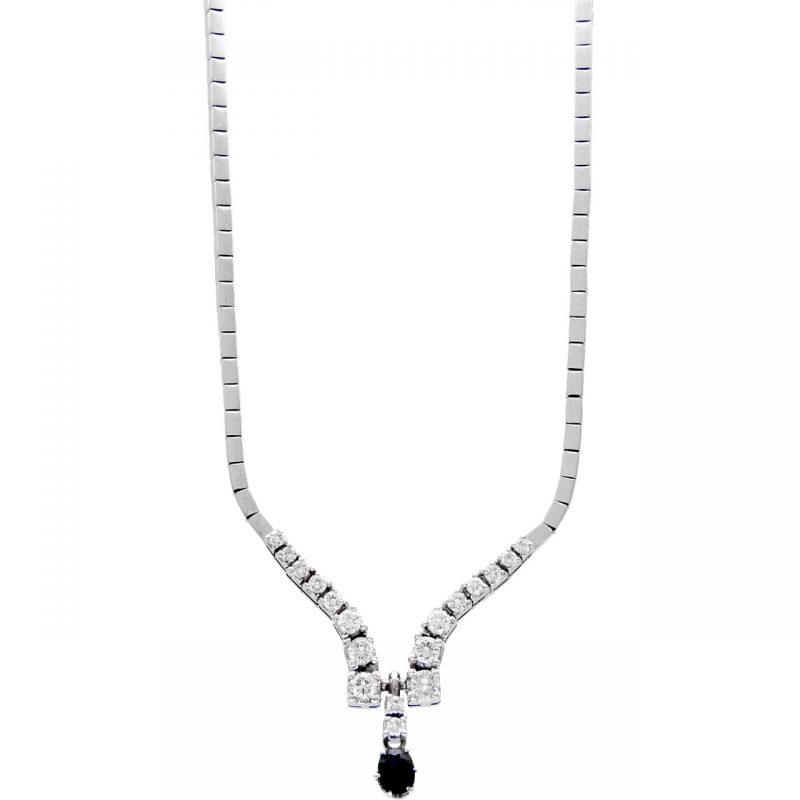 Collier oro bianco con diamanti e zaffiro